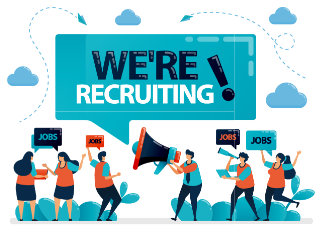 crowd of with a we're recruiting banner